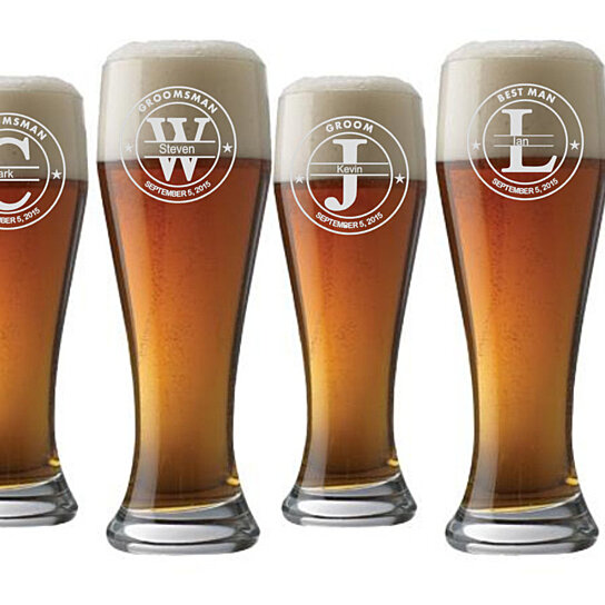 Customized Wedding Beer Glasses : Buy Groomsman beer glasspersonalized wedding beer glass-groomsmen ...