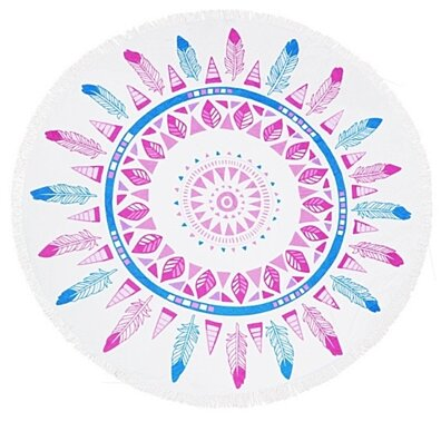 Feather Design Heavy Terry Round Beach Towels with Deluxe Trim