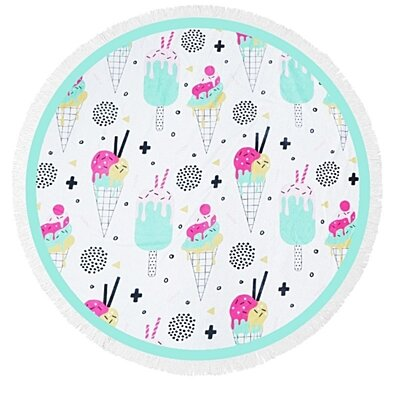 Ice Cream Delight  Heavy Terry Round Beach Towels with Deluxe Trim