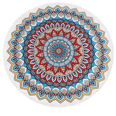 Mandala Pattern Heavy Terry Round Beach Towels with Deluxe Trim