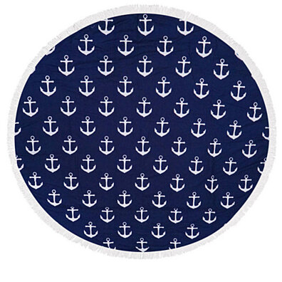 Navy Anchor Heavy Terry Round Beach Towels with Deluxe Trim