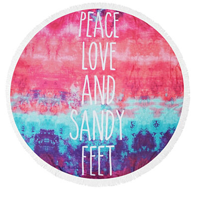 Peace, Love and Sandy Feet Light Weight Terry Round Beach Towels with Deluxe Trim