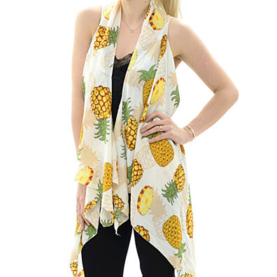 Pineapple Long Vest in White