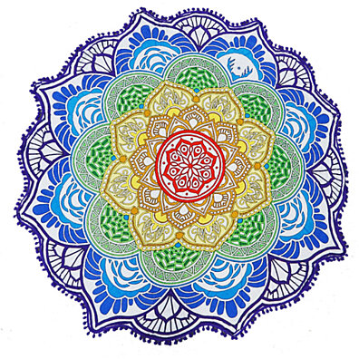 Rainbow Mandala Round Beach Throw