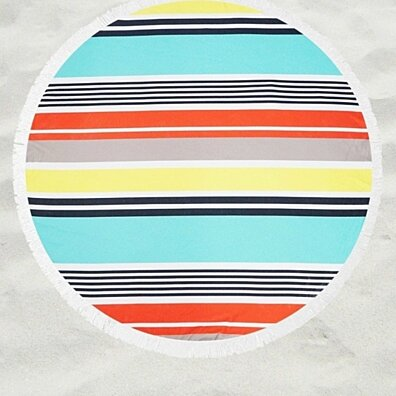 Summer Stripes Light Weight Terry Round Beach Towels with Deluxe Trim