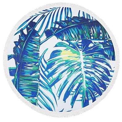 Tropical Leaf Round Beach Throw