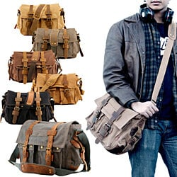 Canvas Leather Satchel Messenger Bag