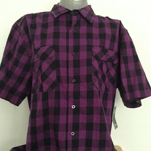 Buy Purple Plaid Button Up Shirt Xl By Shop Megs Place On