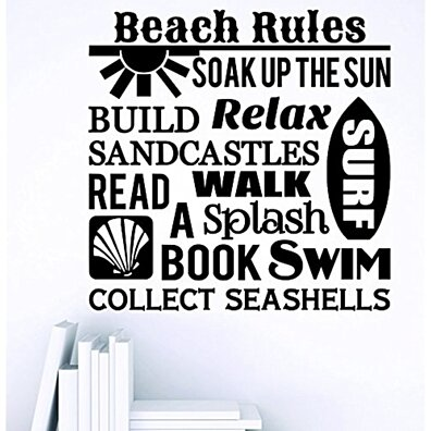 Design with Vinyl Zzz 1056 1 Decor Item Beach Rules Soak Up The Sun Build Sand Castles Quote Wall Sticker Decal...