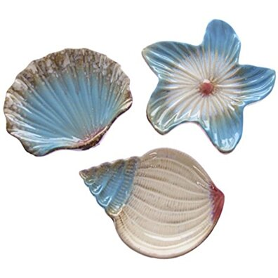 JustNile 3-Piece Ocean Seashell Serving Plate/Soap Dish Set
