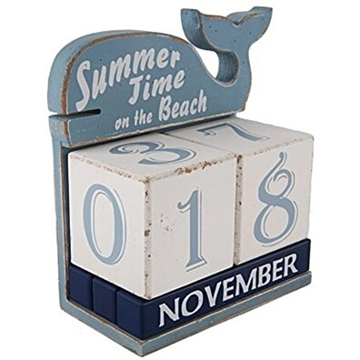 NIKKY HOME Shabby Chic Whale Shape Perpetual Desk Calendar Wood Blocks, 7.28 by 7.28 by 3.35 Inches Blue and White
