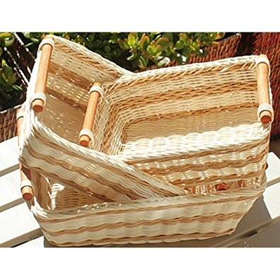 RT430712-3 Rectangular Wicker/Rattan Bread or Storage Baskets in Cream and Brown with Pole Handles