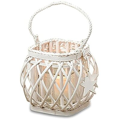 The Cape Cod Star Criss-Cross Wicker Wrapped White Candle Lantern, Woven Willow, Glass Sleeve and Rope, Charms...