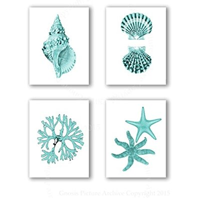 "Turquoise Beach Wall Art Decor Set of 4 Unframed 8x10"" Prints Coastal Home Decor"