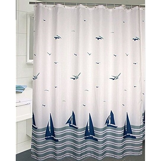 Buy Uforme Beach Theme Boat Print Shower Curtain No More