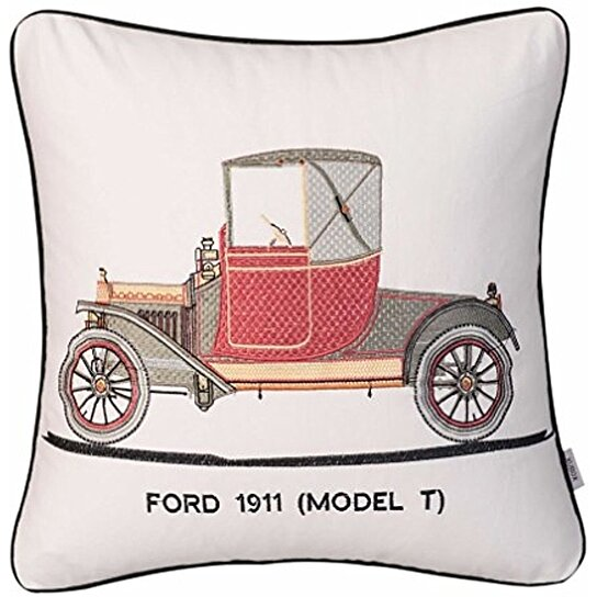 Decorative Pillow Cover Model : Buy Xubox Classic Car Model T Home Decor Embroidered Cotton Linen Square Decorative Pillow Case ...