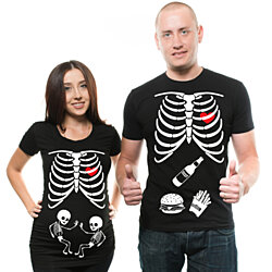 Skleleton Couple Twins Pregnancy Halloween Costume Matching Maternity Tee Shirts