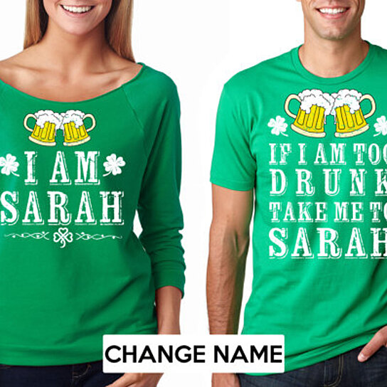 868c9972e7 Trending product! This item has been added to cart 41 times in the last 24  hours. St Patrick's Day CUSTOM Couple Funny Drinking T-Shirts