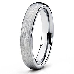 4mm Tungsten Wedding Band Gray Tungsten Ring Brushed Dome Tungsten Band Men & Women Comfort Fit