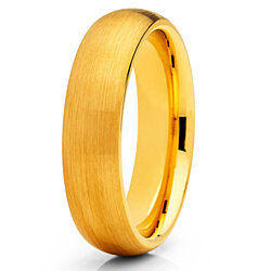 5mm Brushed Yellow Gold Tungsten Carbide Ring Tungsten Wedding Band Dome Shape Comfort Fit