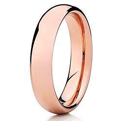 5mm Rose Gold Tungsten Ring Shiny Polish Tungsten Ring Dome Tungsten Band