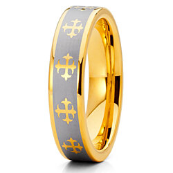 5mm Yellow Gold Tungsten Carbide Wedding Ring Cross Design Silver Finish Unisex Pipe Cut Band