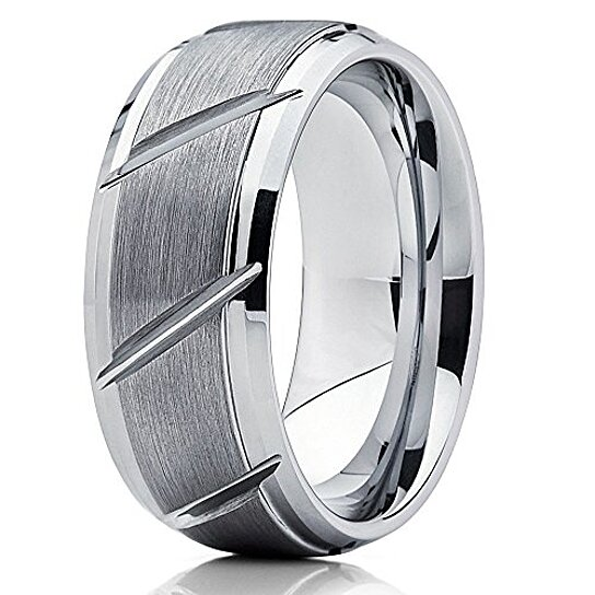 fd8bcbad9f40 Trending product! This item has been added to cart 21 times in the last 24  hours. 9mm Tungsten Wedding Band Men   Women Tungsten Carbide Ring Grooved  ...