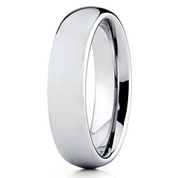 Silly Kings 5mm Silver Tungsten Carbide Wedding Band Dome Shape Ring Men & Women Comfort Fit