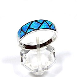 Blue Fire Opal Inlay 925 Sterling Silver Men's Band Ring Size 10-13