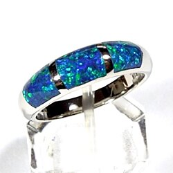 Blue Fire Opal Inlay 925 Sterling Silver Men's Band Ring Size 8-12