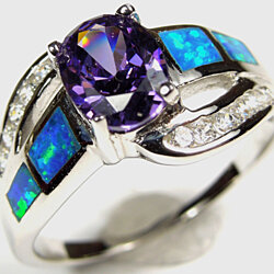 Amethyst and Blue Fire Opal Inlay Genuine 925 Sterling Silver Ring Size 10