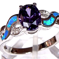 Amethyst & Blue Fire Opal Inlay Genuine 925 Sterling Silver Ring Size 10