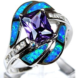 Princess Cut Amethyst & Blue Fire Opal Inlay 925 Sterling Silver Ring Size 10