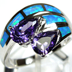 High Quality Amethyst & Blue Fire Opal Inlay 925 Sterling Silver Ring Size 10
