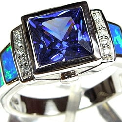 Tanzanite & Blue Fire Opal Inlay 925 Sterling Silver Men's Ring Sizes 10, 11