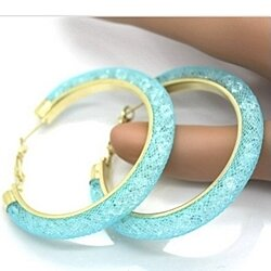 18k Gold Swarovski Aqua Earrings