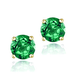 18K Gold over Sterling Silver 2.1ct Created Emerald Stud Earrings, 6mm