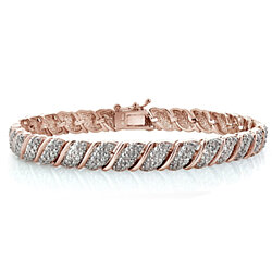 18K Rose Gold Plated 1ct TDW Diamond Fancy Design Tennis Bracelet