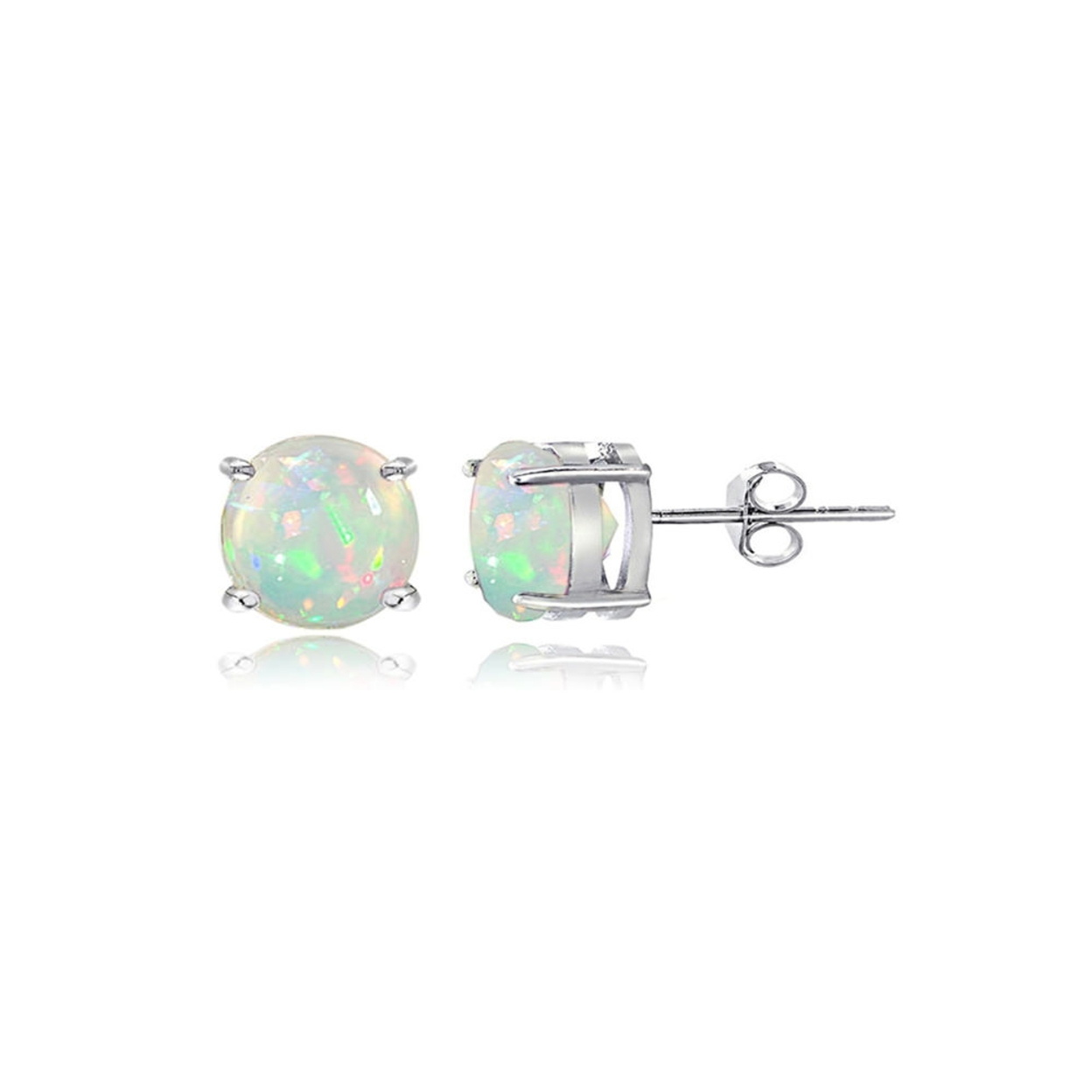 Sterling Silver 0.30ct Ethiopian Opal 4mm Round Stud Earrings