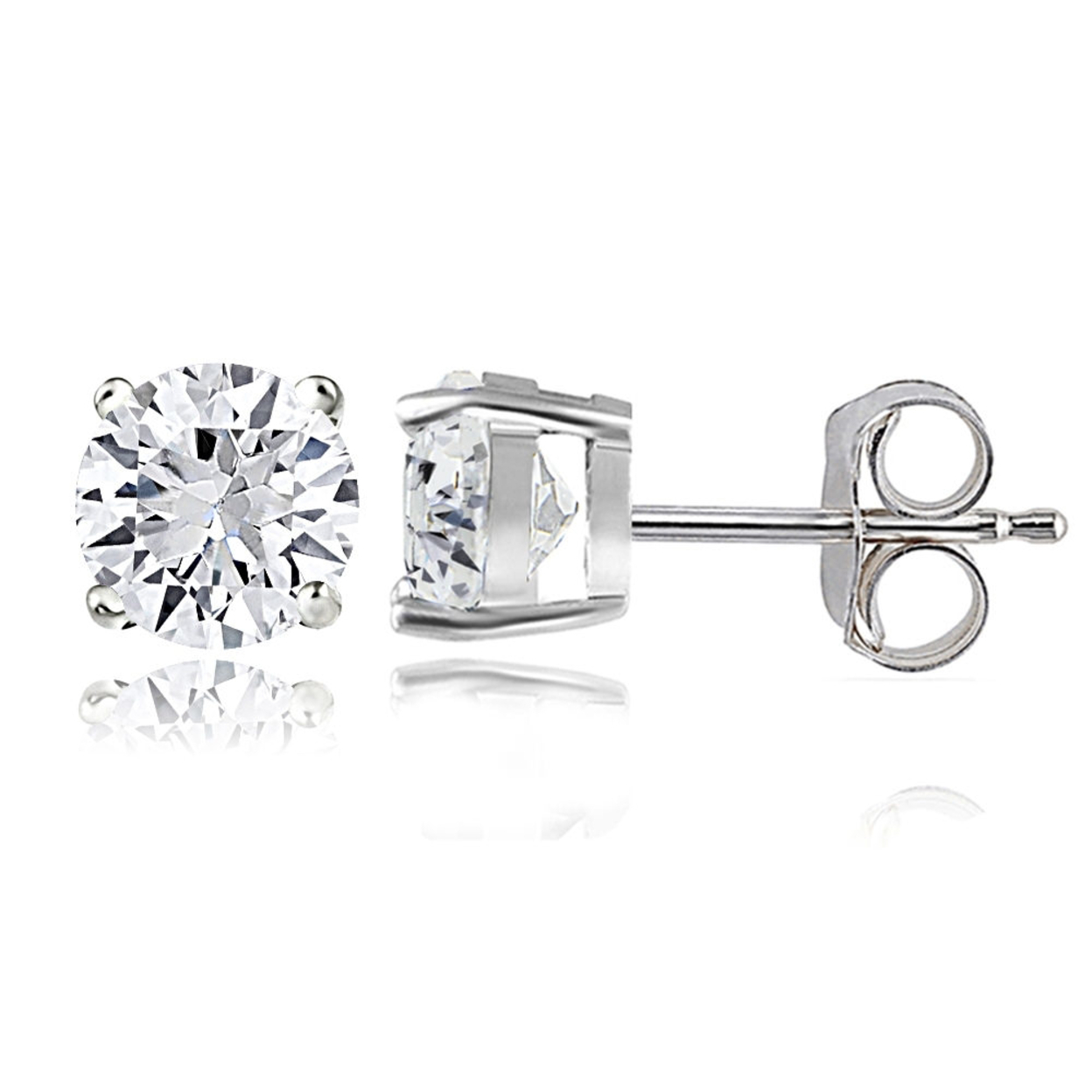 Sterling Silver 2ct Created White Sapphire Round Stud Earrings, 6mm
