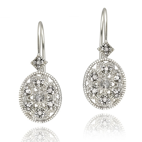 buy sterling silver diamond accent filigree oval leverback