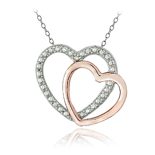 Buy Sterling Silver Two Tone Rose Gold Tone Diamond Accent