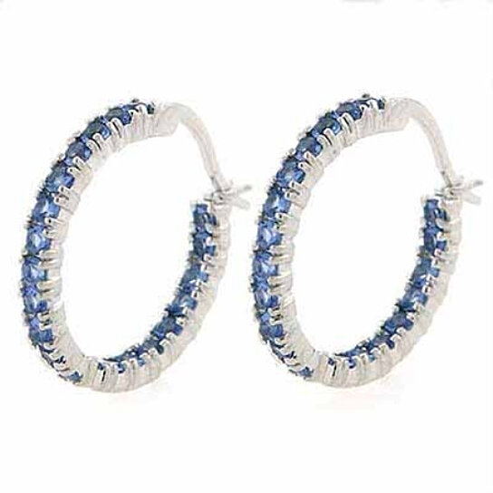 buy tanzanite cz sterling silver hoop earrings by