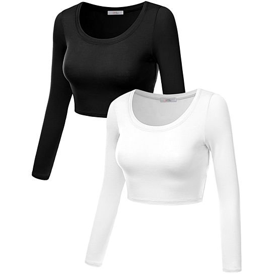 9761fc08fae696 Buy Simlu Womens Crop Top Round Neck Basic Long Sleeve Crop Top with  Stretch - USA by Simlu Clothing on OpenSky