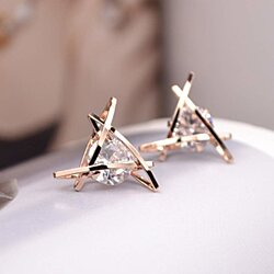 Rose Gold Stud Earrings Triangle Shaped CZ Earrings for Women Expertly Made of Sparkling Starlight Round Cut Cubic Zirconia