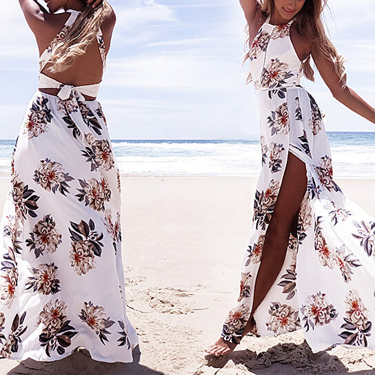 6ce1847eec5ad Buy Floral Print Halter Chiffon Long Dress Women Backless 2017 Maxi Dresses  Vestidos Sexy White Split Beach Summer Dress by Sincolor on OpenSky
