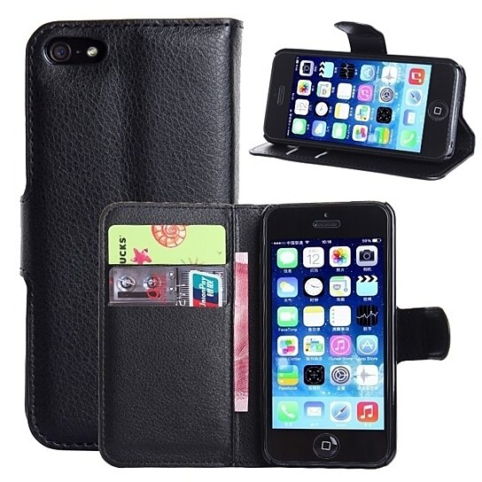 the latest a3e36 238d1 Luxury Stand flip Leather Case For iPhone 5s wallet case for iPhone5s Cover  with Card Slot waterproof