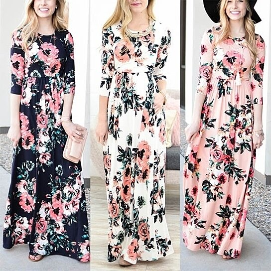 1f50475c5f5e Trending product! This item has been added to cart 92 times in the last 24  hours. Women Floral Print 3/4 Sleeve Boho Dress Ladies Evening Party Long  Maxi ...