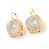 Gold-plated 925 Sterling Silver Rainbow Moonstone Earrings