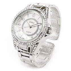 d65cc2330 Buy Silver Metal Band Crystal Bezel Large Face Women's Bangle Cuff ...